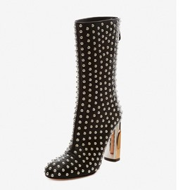 Ericdress Rivet Round Toe Chunky Heel Calf High Boots