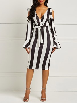 Ericdress Long Sleeves Bodycon Stripe Cold Shoulder Women's Dress