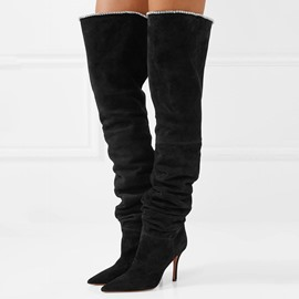 Ericdress Plain Pointed Toe Stiletto Heel Women's Knee High Boots