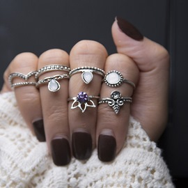 Ericdress Amethyst Ring Set