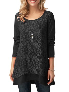 Ericdress Loose Lace Casual Double-Layer Long Sleeve T-shirt