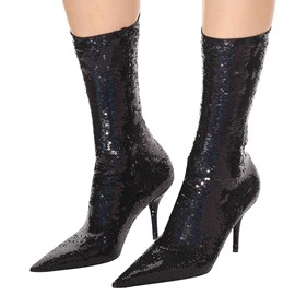 Ericdress Sequin Pointed Toe Stiletto Heel Women's Calf High Boot