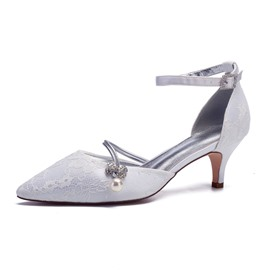 Ericdress Lace Rhinestone Pointed Toe Stiletto Heel Wedding Shoes