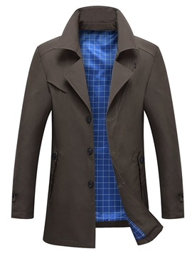 Ericdress Plain Thick Lapel Slim Mens Casual Trench Coat