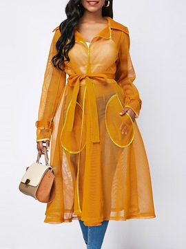 Ericdress Lace-Up See-Through Lapel Long Trench Coat