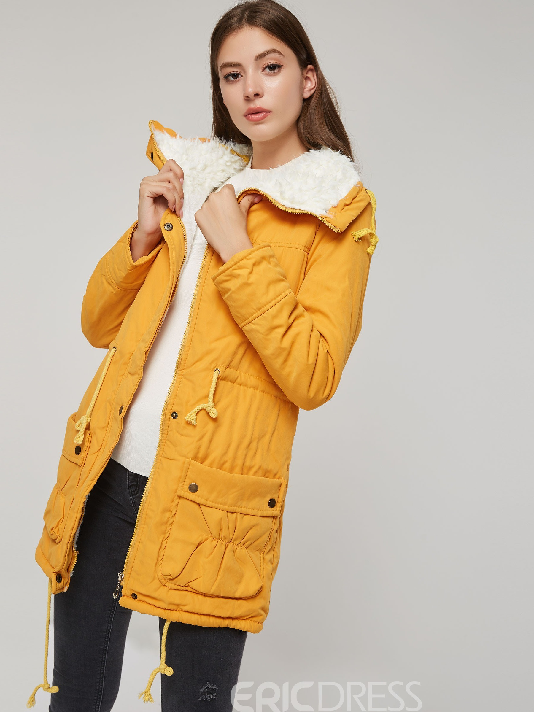 Ericdress Slim Pocket Zipper Mid-Length Padded Cotton Jacket