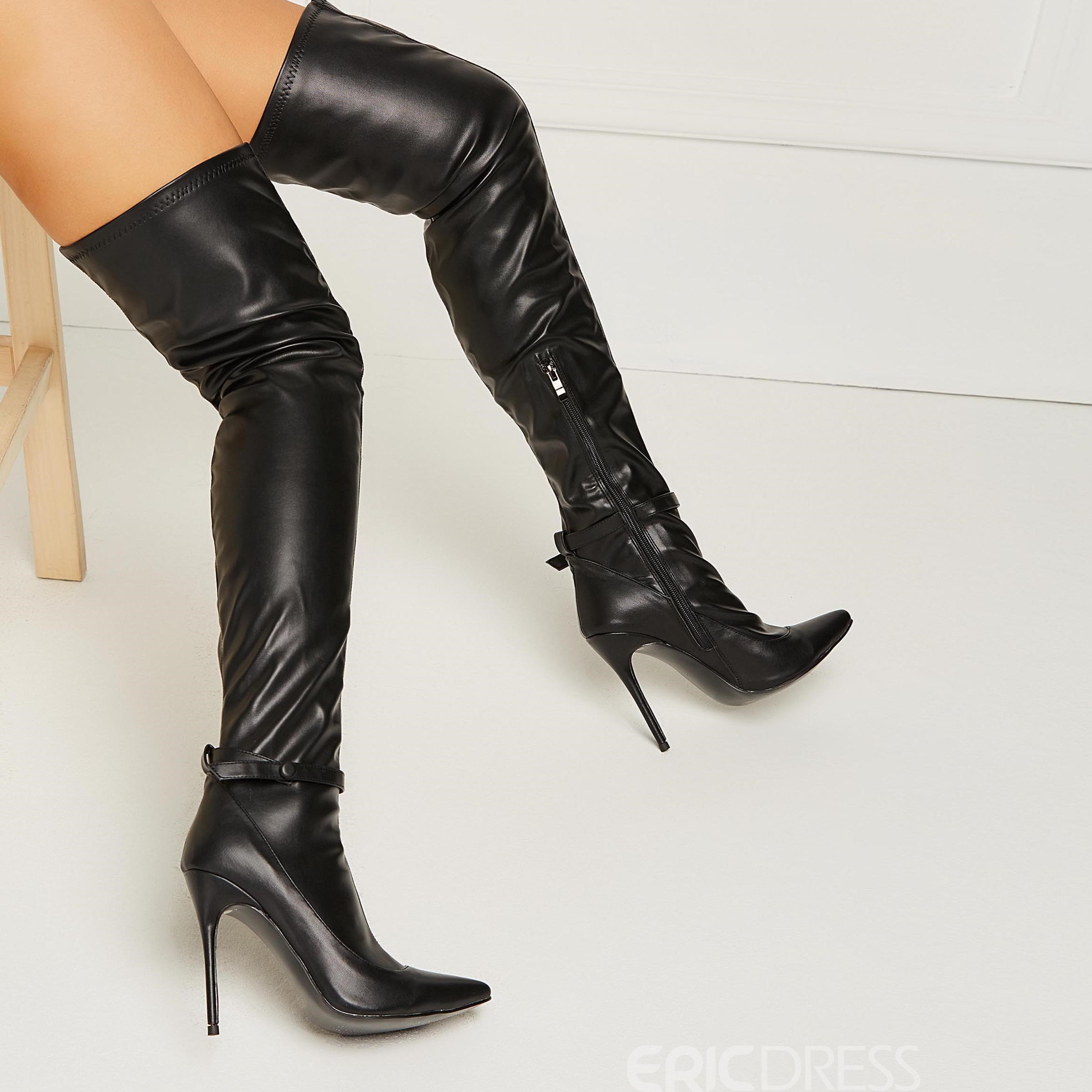 Ericdress PU Plain Pointed Toe Stiletto Heel Over The Knee Boots
