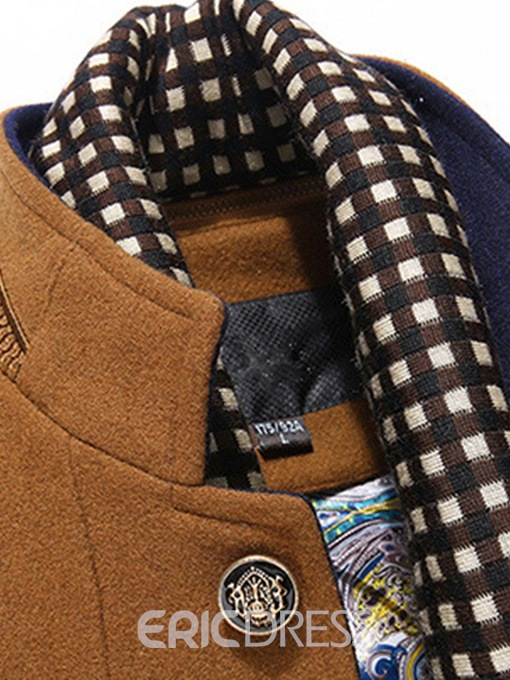 Ericdress Plain Stand Collar Patchwork Thick Mens Winter Wool Coat