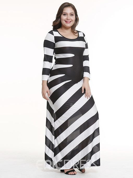 Ericdress Plus Size Ankle-Length Nine Points Sleeve Round Neck Color Block Casual Dress