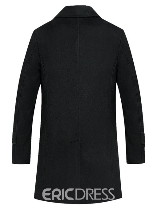 Ericdress Plain Black Single Breasted Mens Casual Wool Coats