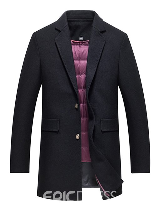 Ericdress Plain Mid-Length Mens Casual Thick Winter Wool Coats