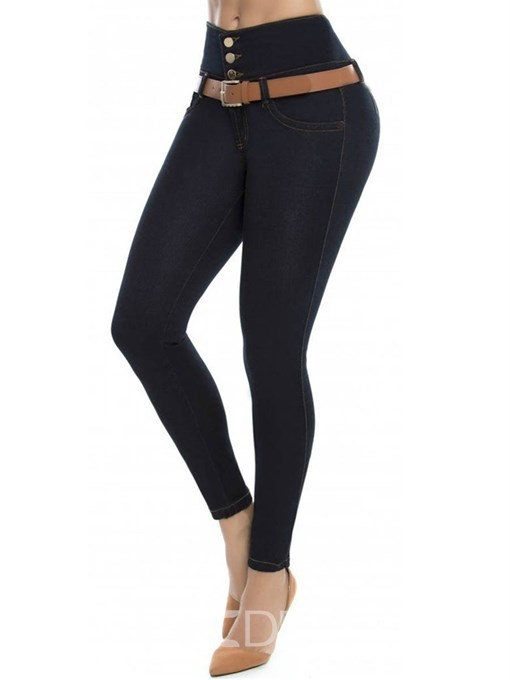 Ericdress Button Plain Washable High-Waist Skinny Jeans