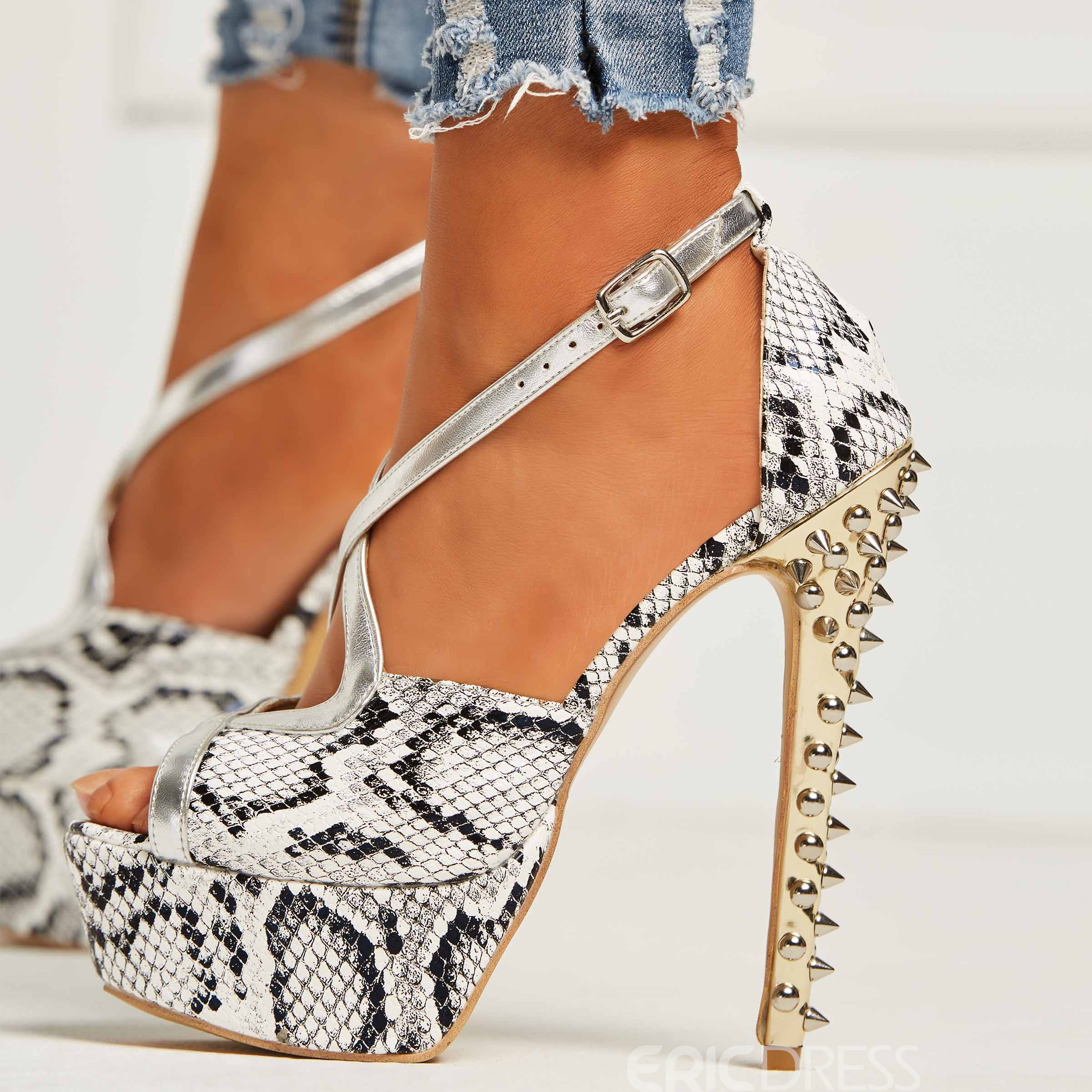 Ericdress Serpentine Peep Toe Platform Stiletto Heel Women's Sandals
