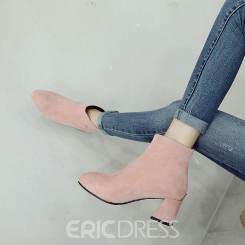 Ericdress Round Toe Back Zip Chunky Heel Women's Ankle Boots