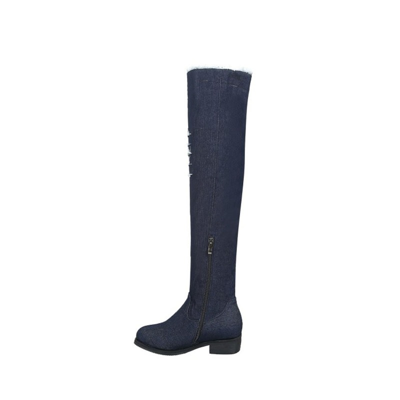 Ericdress Denim Side Zipper Block Heel Over The Knee Boots
