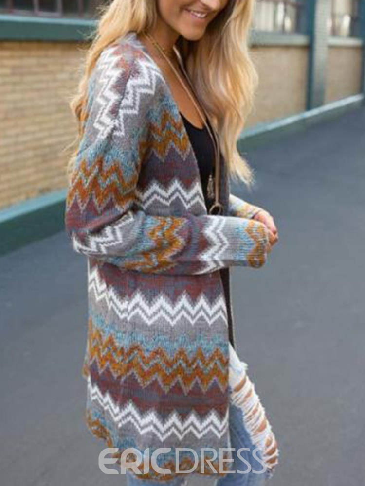 Ericdress V-Neck Thin Loose Travel Look Mid-Length Cardigan