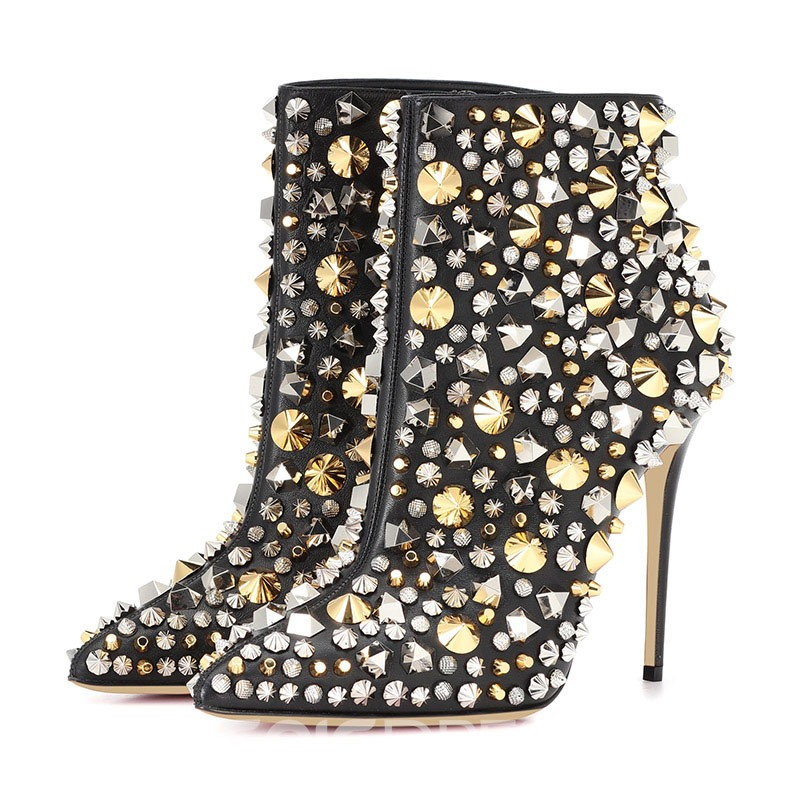 Ericdress Rivet Pointed Toe Stiletto Heel Ankle Boots