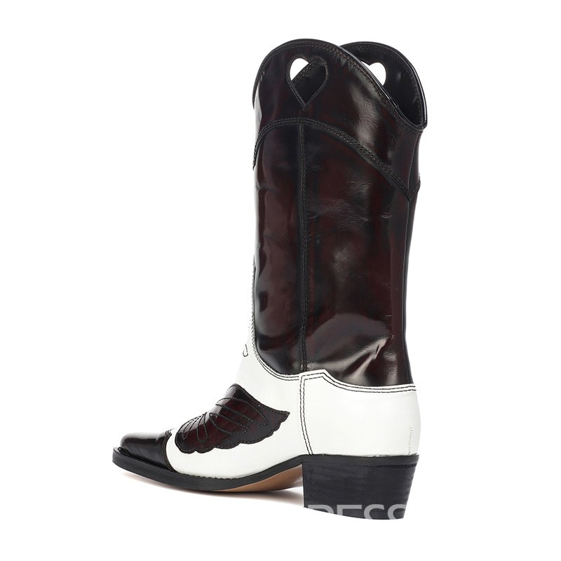 Ericdress Embroidery Square Toe Chunky Heel Women's Calf High Boots