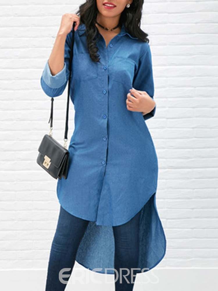Ericdress Single-Breasted Plain Loose Long Long Sleeve Blouse
