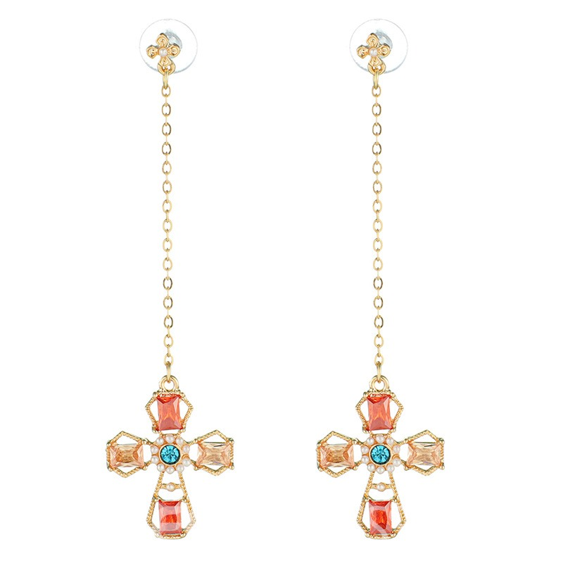 Ericdress Color Cross Diamante Fashion Earrings