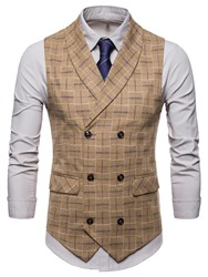 Ericdress Plaid Double Breasted Mens Casual Dress Vest фото