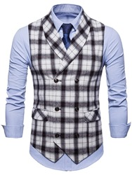 Ericdress Plaid Lapel Double Breasted Mens Casual Dress Vest фото
