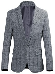 Ericdress Plaid Notched Lapel Slim One Button Mens Casual Blazer