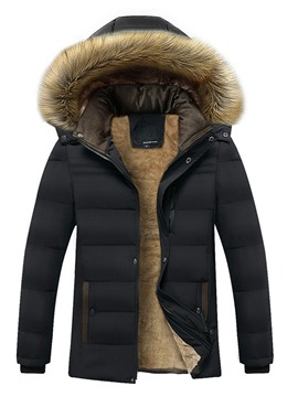 Ericdress Plain Fur Hooded Mid-Length Thick Mens Winter Coats