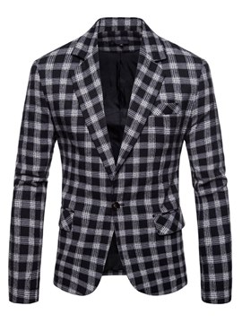 Ericdress Plaid Classic Lapel Casual One Button Mens Blazer Jacket