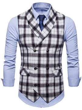 ericdress Plaid Revers Zweireiher Mens Casual Kleid Weste