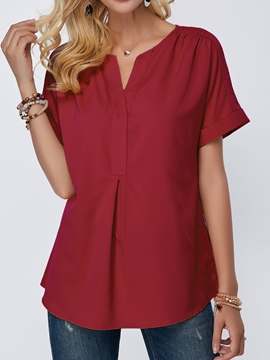 Ericdress Loose V-Neck Plain Single Short Sleeve T-shirt