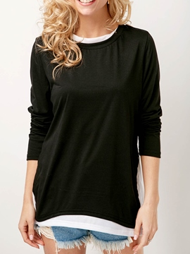 Ericdress Patchwork Scoop Casual Double-Layer T-shirt