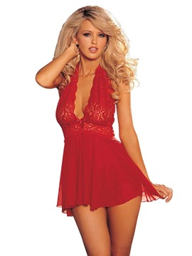 Ericdress Halter Backless Lace Sexy Babydoll