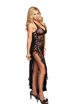Ericdress Slit Up Lace-Up V-Neck Halter Sexy Dress