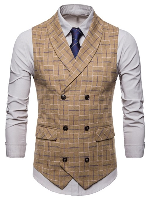Ericdress Plaid Double Breasted Mens Casual Dress Vest