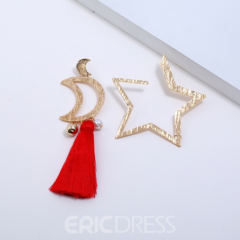 Ericdress Tassel Star& Moon Earrings