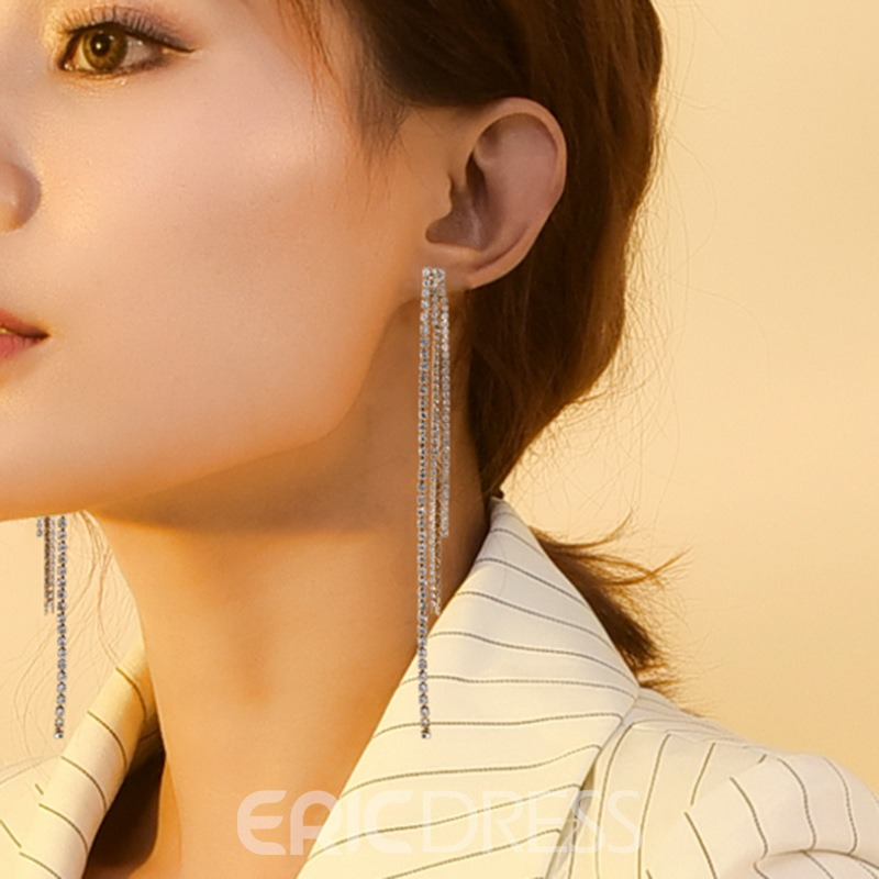 Ericdress Diamante Long Earrings Studs