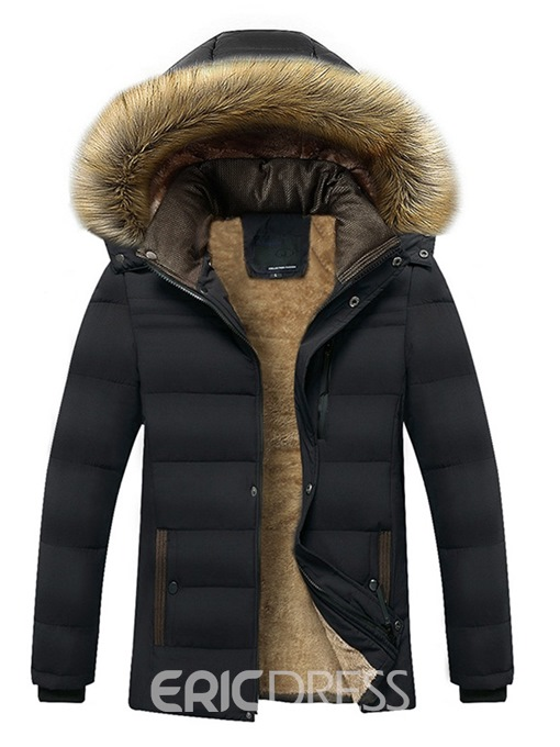 Ericdress Plain Fur Hooded Mid-Length Small Size Thick Mens Winter Coats