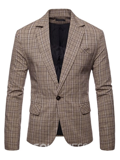 Ericdress Plaid Lapel One Button Mens Casual Blazer Jacket