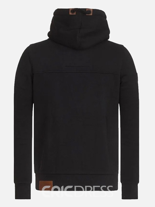 Ericdress Plain Zipper Hooded Mens Casual Hoodies