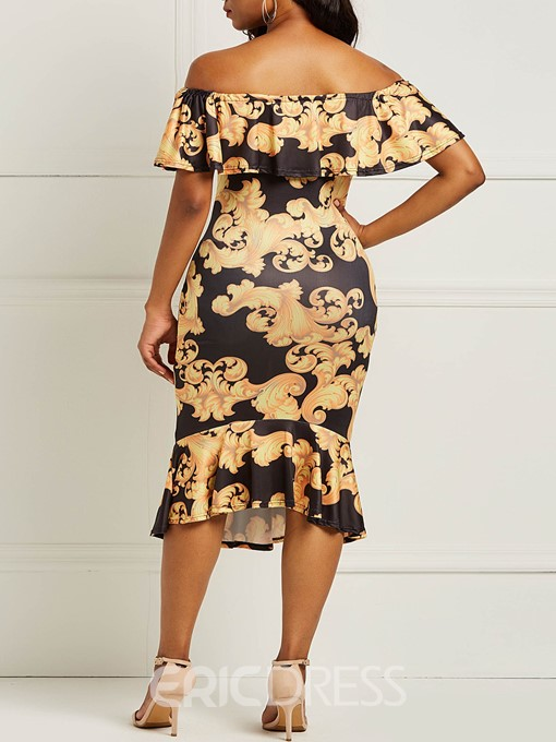 Ericdress Floral Print Bodycon Off the Shoulder Women's Dress