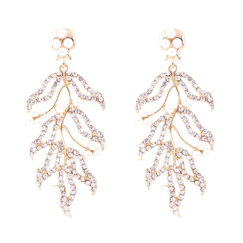 Ericdress Hollow Out Leafage Diamante Fashion Earrings