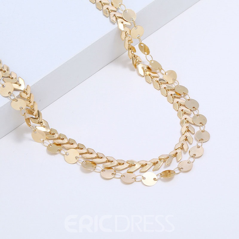 Ericdress Double Chain Choker Charm Necklace