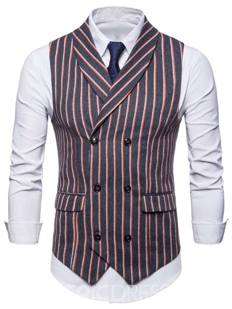 Ericdress Vertical Stripe Double Breasted Mens Casual Dress Vest