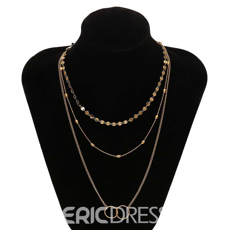 Ericdress Stylish Simple Multi-Layer Sequined Necklace