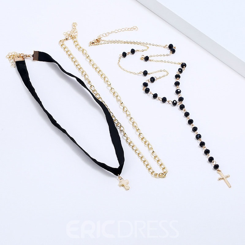 Ericdress Multilayer Beads Charm Necklace