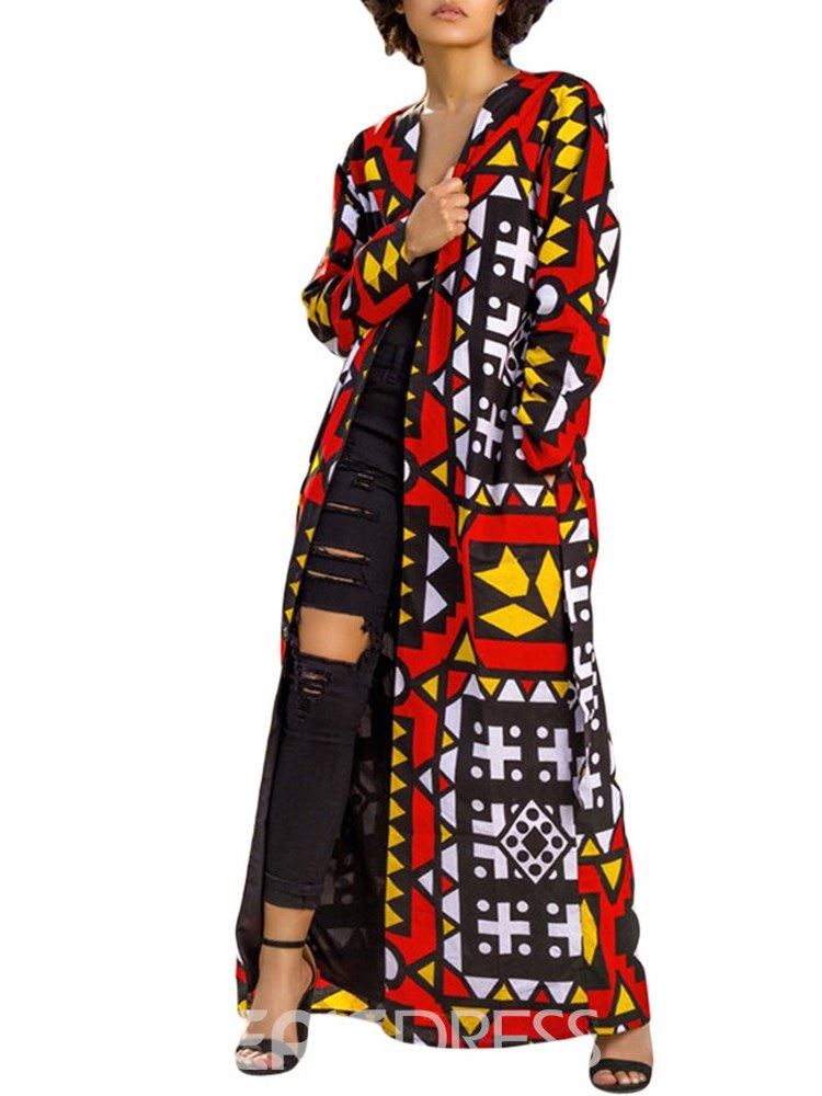 Ericdress V-Neck Geometric Print Long Sleeves Trench Coats