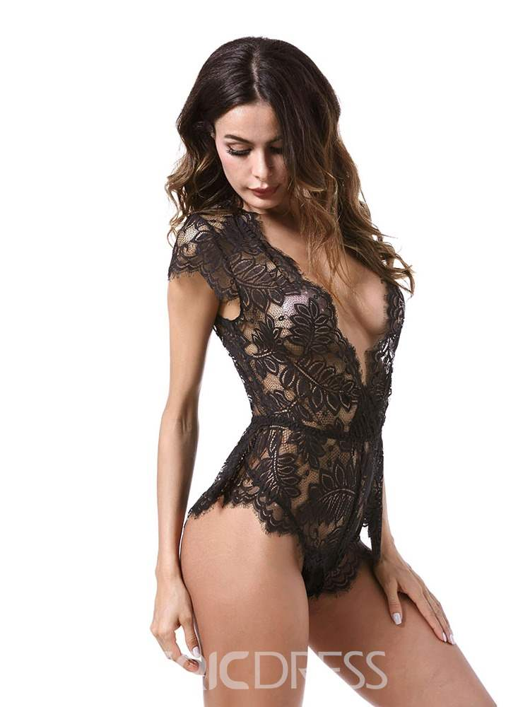 Ericdress Deep-V See-Through Lace-Up Sexy Teddy