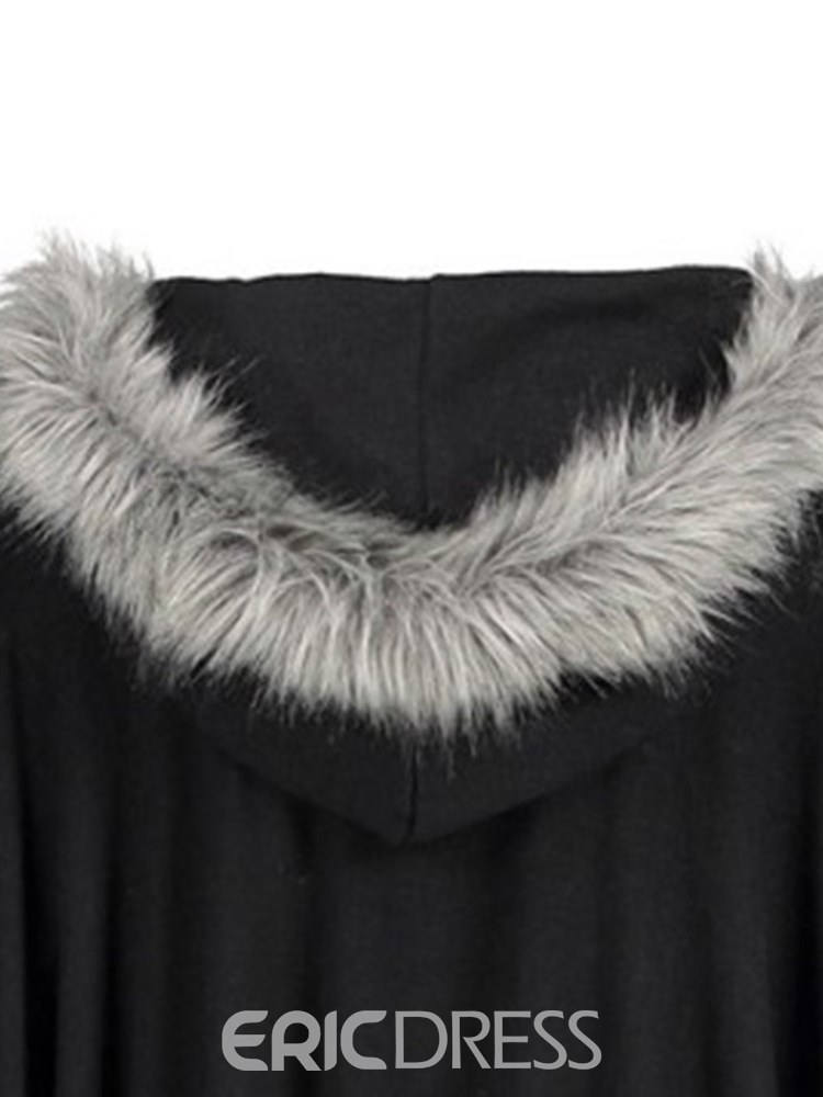 Ericdress Zipper Casual Plain Faux Fur Cape