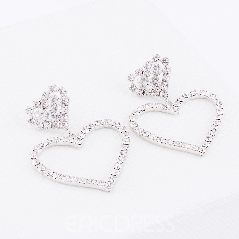 Ericdress Heart Diamante Fashion Earrings